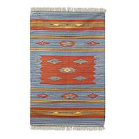 Cotton rug, 'Agra Sunshine' (4x6) - Hand Woven Cotton Rug in Blue and Orange from India (4x6)