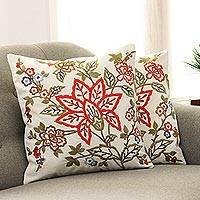 Embroidered cotton cushion covers, 'Jaipur Meadow' (pair)