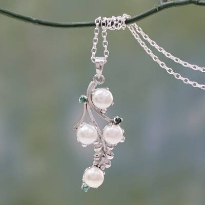 Cultured pearl and emerald pendant necklace 'Gardenia Bouquet' - Artisan Crafted Cultured Pearl and Emerald Necklace