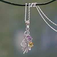 Amethyst and citrine pendant necklace, 'Tropical Bouquet' - Artisan Crafted India Necklace with Amethyst and Citrine