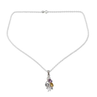 Artisan Crafted India Necklace with Amethyst and Citrine