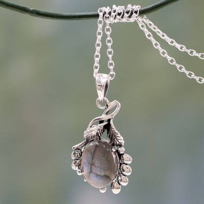 Labradorite pendant necklace, 'Quiet Allure' - India Sterling Silver Artisan Necklace with Labradorite