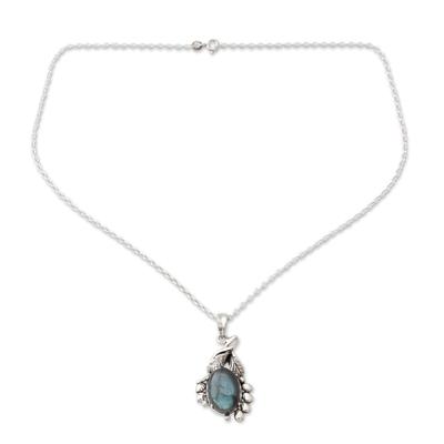 Labradorite pendant necklace, 'Quiet Allure' - India Sterling Silver Artisan Necklace with Labradorite
