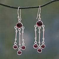Garnet chandelier earrings, 'Dreamer' - India Handmade Garnet Chandelier Earrings in Sterling Silver
