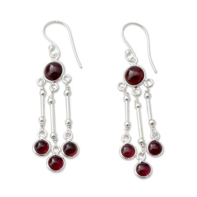 India Handmade Garnet Chandelier Earrings in Sterling Silver