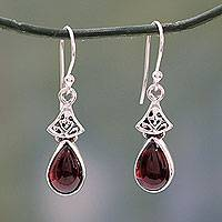 Garnet dangle earrings, 'Crimson Morn' - Garnet Earrings in Sterling Silver from India