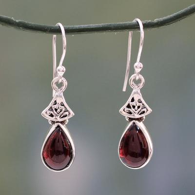 Garnet dangle earrings, 'Crimson Morn' - Garnet Earrings in Sterling Silver from India