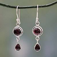 Garnet dangle earrings, 'Crimson Glow' - Garnet and Sterling Silver Earrings Handmade in India