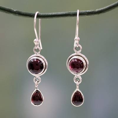 63ccdc685e340a Garnet dangle earrings, 'Crimson Glow' - Garnet and Sterling Silver Earrings  Handmade in