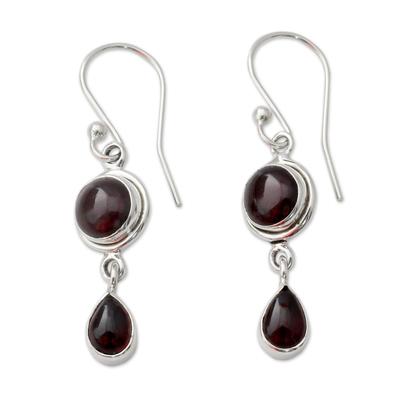 Garnet and Sterling Silver Earrings Handmade in India