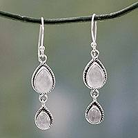 Rainbow moonstone dangle earrings, 'Misty Teardrops' - Rainbow Moonstone Fair Trade Earrings with Sterling Silver