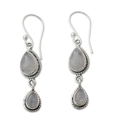 Rainbow Moonstone Fair Trade Earrings with Sterling Silver