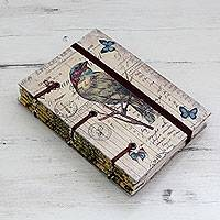 Handmade journal, 'Life's a Journey' - Artisan Crafted Vintage Style Journal with Handmade Paper