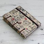 Artisan Crafted Journal with 60 Pages Blank Handmade Paper, 'Vintage Bike Journeys'