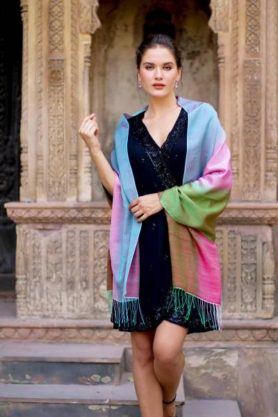 Silk and wool shawl, 'Tutti Frutti' - Women's Multicolor Shawl in Wool and Silk from India