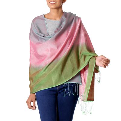Silk and wool shawl, 'Tutti Frutti' - Women's Multicolor Shawl in Wool and Silk from India