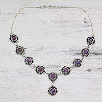 Sterling silver Y necklace, 'Mystic Lilac' - Sterling Silver Y Necklace with Purple Turquoise Gems