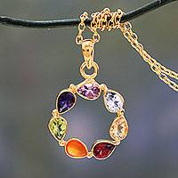 Vermeil multi-gemstone chakra necklace, 'Peace Within' - Multi-gemstone Vermeil Necklace Chakra jewellery from India