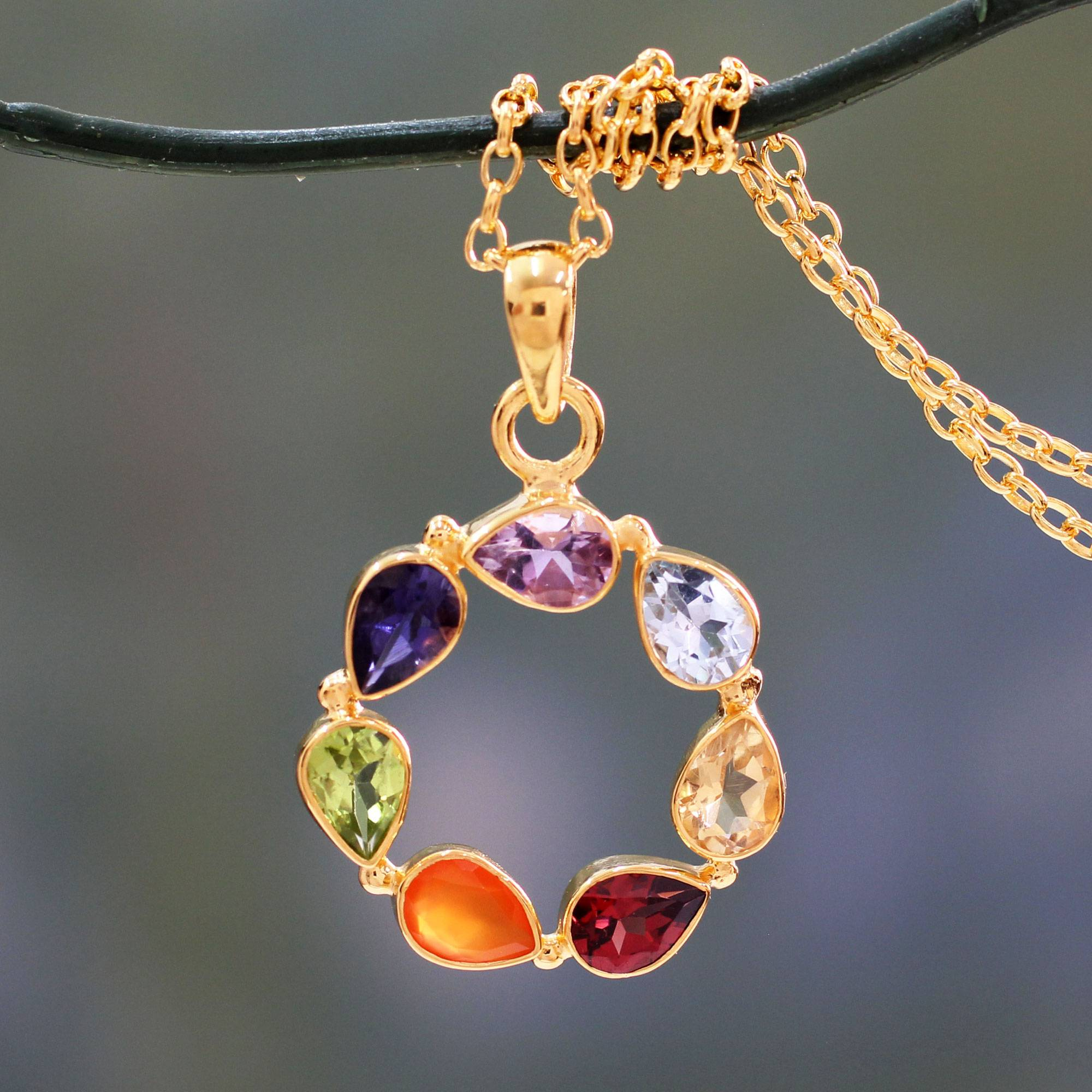 Novica Multi gemstone chakra necklace, Serenity