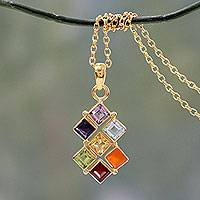 Vermeil multi-gemstone chakra necklace, 'Wellness' - Multi Gemstone Gold Vermeil Necklace Chakra Jewelry