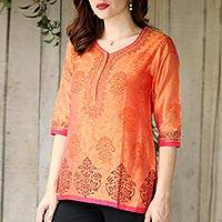 Chanderi cotton silk blend tunic, 'Tangerine Temptress'
