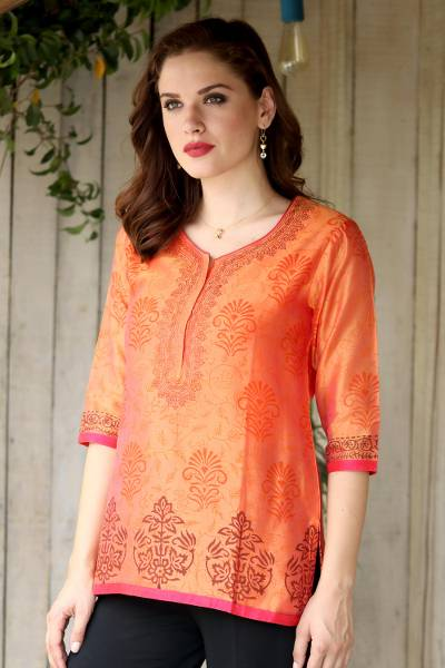 Chanderi cotton silk blend tunic, 'Tangerine Temptress' - Chanderi Tunic Hand Block Printed Cotton Silk Blend