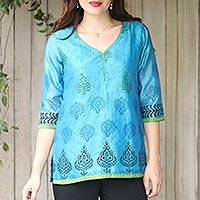 Chanderi cotton silk blend tunic, 'Turquoise Temptress'