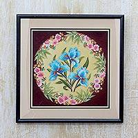 Cold ceramic wall relief panel, 'Blue Lilies' - Floral Cold Ceramic Wall Relief Panel with Frame