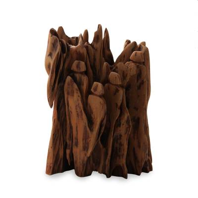Reclaimed wood sculpture, 'Family of Four II' - People in a Tree Sculpture Reclaimed Wood Art from India