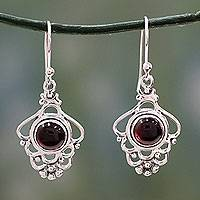 Garnet dangle earrings, 'Cascading Beauty' - India Artisan jewellery Sterling Silver and Garnet Earrings