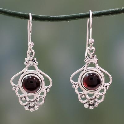 Garnet dangle earrings, 'Cascading Beauty' - India Artisan jewellery Sterling Silver and Garnet Earrings