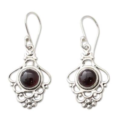 India Artisan Jewelry Sterling Silver and Garnet Earrings