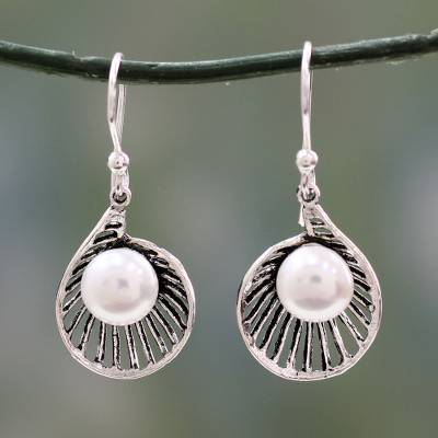 Cultured pearl dangle earrings, 'Oyster Treasure' - Artisan Crafted Pearl and Sterling Silver Earrings