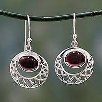 Garnet dangle earrings, 'Web of Hope' - Sterling Silver Jali Earrings with Garnets Crafted by Hand