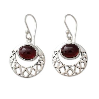 Sterling Silver Jali Earrings with Garnets Crafted by Hand