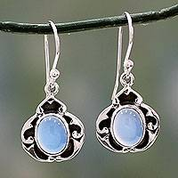 Chalcedony dangle earrings, 'Azure Dreams' - Blue Chalcedony on Sterling Silver Earrings from India