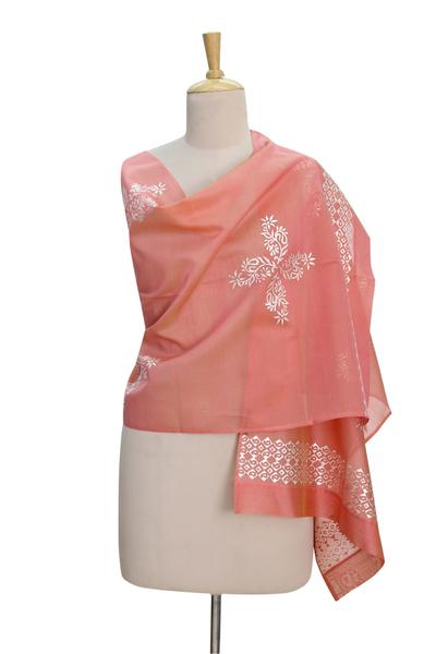 Chanderi cotton and silk blend shawl, 'Floral Galaxy' - Silver Block Print on Chanderi Shawl Wrap from India