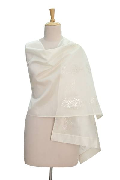 Chanderi cotton and silk blend shawl, 'Paisley Magic' - Off White Cotton Silk Chanderi Shawl with Silver Block Print