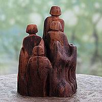 Reclaimed wood sculpture, 'Family in the Forest' - Reclaimed Indian Khair Wood Signed Sculpture