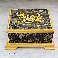 Decoupage box, 'Golden Rose' - India Handcrafted Decoupage Box with Yellow Rose