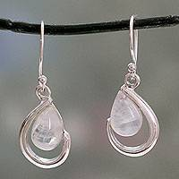 Rainbow moonstone dangle earrings, 'Sublime Symmetry' - India Handcrafted Rainbow Moonstone Earrings