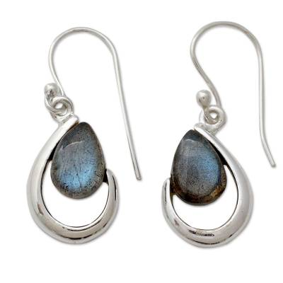 Labradorite dangle earrings, 'Sublime Symmetry' - India Labradorite and Silver Handcrafted Earrings