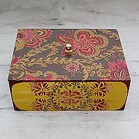 Decoupage box, 'Glorious Petals' - Handcrafted Floral Decoupage Box from India