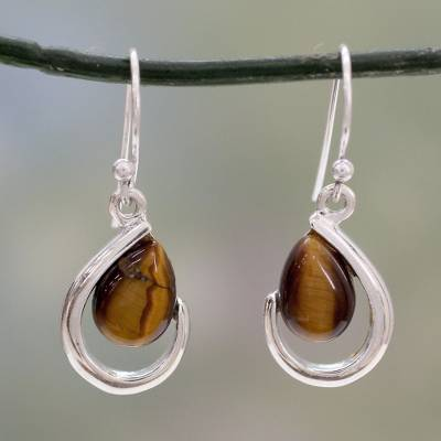 Tiger's eye dangle earrings, 'Sublime Symmetry' - Tiger's Eye Modern Earrings Handcrafted of Silver in India