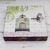 Decoupage box, 'Birdcage and Butterfly' - Butterfly Theme Decoupage Decorative Box