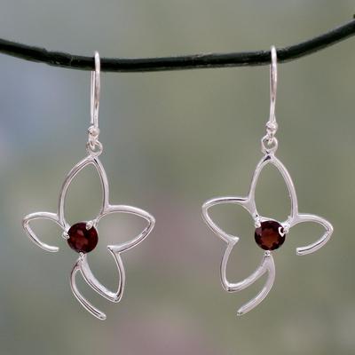 Garnet dangle earrings, 'Sweet Flower' - Handcrafted Sterling Flower Earrings with Garnets