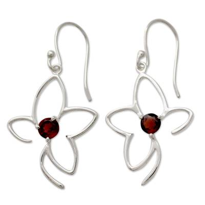 Handcrafted Sterling Flower Earrings with Garnets