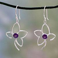 Amethyst dangle earrings, 'Sweet Flower' - Modern Handcrafted Sterling Silver Amethyst Flower Earrings