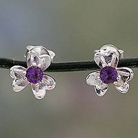 Amethyst button earrings, 'Cradle Lily' - Amethyst Centered Floral Silver Earrings from India