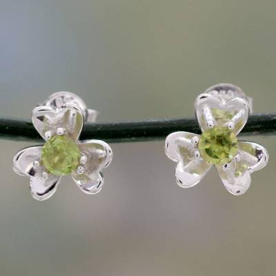 Peridot button earrings, 'Cradle Lily' - Floral Peridot and Silver Button Earrings from India